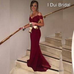 Wholesale Tulle Sash Belt - Robe De Soiree Mermaid Burgundry Long Evening Dress Party Elegant Vestido De Festa Long Prom Gown 2017 With Belt