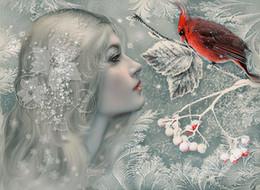 2019 pittura nera rossa fatta a mano 5d diamante ricamo cucito fai da te diamante pittura a punto croce kit cartoon ragazza carina pappagallo diamante rotondo mosaico room decor yx0720