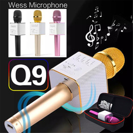 Wholesale Horn Speaker For Iphone - Magic Q9 Bluetooth Microphone Portable Handheld Wireless KTV Karaoke Player Dual Horns Loudspeaker Speaker For iPhone 7 Plus Samsung S7 Edge