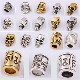 Wholesale Skull Beads Pendant - Wholesale-10psc lot Skull Metal Pandora Beads Pirate Camping DIY Paracord Accessories Alloy Pendant For Outdoor Knife Bracelet Keychain
