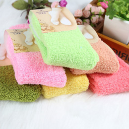 Wholesale Girls Home Sock - Wholesale- 1 PC Women Girls Bed Socks Pure Color Fluffy Warm Winter Kids Gift Soft Floor Home clothing accessories