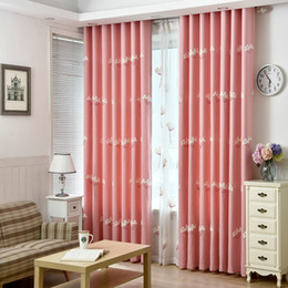 Wholesale On Sale Excellent Quality Linen Curtain With Embroidered Flowers Pattern Luxury Blinds d Pink Blue Blackout