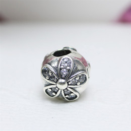 Wholesale 925 Ale Jewelry - Real 925 Sterling Silver Daisy Charm Beads Fixed Clamp with Diamonds Fit European Jewelry Charm Bracelets S925 ALE DIY Jewelry
