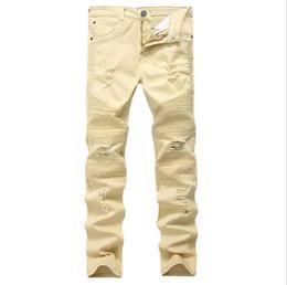 Wholesale Modern Woman Coats - Brand new Tide locomotive men and women personality wrinkled Slim feet high elastic jeans JM026 Men's Jeans