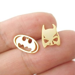 Wholesale Dc Tin - Min 1Pc Batman Themed Bat Mask and Logo Shaped Stud Earrings in Silver DC Comics Super Heroes Themed Jewelry ED076
