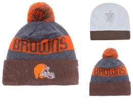 Wholesale Girl Teams - new style Cleveland Football Beanies Team Hat Winter hat Popular browns Beanie Caps Skull Caps Best Quality Women Men Warm Sports Caps