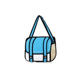 Wholesale 2d Handbags - Wholesale- New Fashionable 2D Bags Novelty Back To School Bag 3D Drawing Cartoon Comic Handbag Lady Shoulder Bag Messenger 6 Color Gifts