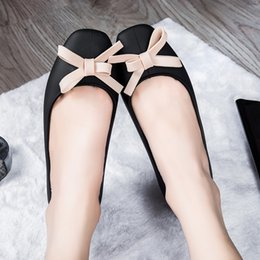 Wholesale Little Girls Heels - 2017 fashion girl Shallow side first single shoes female sweet little fragrance bow tie flat shoes jelly ballet women shoes