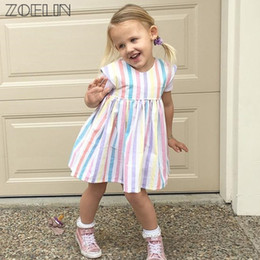 Wholesale Hot Sale Baby Girl Rainbow - 2017 Baby Girl Dress Hot Striped Cute Sale!! Baby Girls Summer Dress New Fashion Brand Rainbow Color 0-2y Little Princess Gift