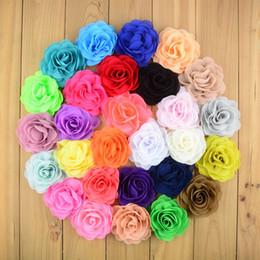 "Wholesale Chiffon Rosette Fabric Wholesale - 50pcs lot 3.15"" Chiffon Fabric Rosette Flowers Boutique DIY Blossom Hair Bows Flower Without Clips Girls Hair Accessories FH28"