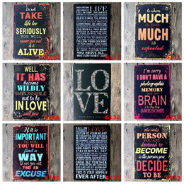 Wholesale Poetry Paintings - Romantic Poem Poetry tin sign Wall Decor Vintage Craft Art Iron Painting Tin Poster Cafe Shop Bar Club Home Decorate