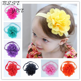 Wholesale Elastic Headbands Fancy - Wholesale- Fancy Kids Headband European American Style Korean Mesh Elastic Children's Hairband Baby Colorful Flower Cute Hair Accessories