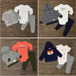 Wholesale Olive Jacket Pants - Baby Clothes Kids Fox Striped Suits Ins Romper Coat Pants Outfits Cotton Jumpsuit Jackets Trousers Cartoon Long Sleeve Clothing Sets B3202