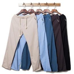 Wholesale Canada Outwear - Wholesale-Men's Flax Linen Cotton Canada Beach Pants Outwear Casual Elastic Waist Brand Trousers Loosen Jogger Beige Joggers Men Women XXL