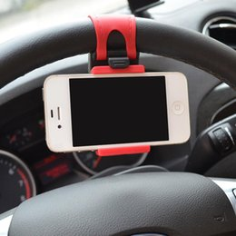 Wholesale Steering Wheel Mobile Holder - Universal Car Steering Wheel Mount Car Cell Mobile Phone Holder Stand For iPhone 5 6 7 plus iPod Samsung MP4 GPS Xiaomi HTC Sony free DHL