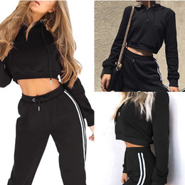 Wholesale Spandex Trousers - Women Casual Solid Color Lu na Sweater Stripes Long Pants Set Gyming Yoga Rope Hoodie Sports Trousers Suit LX4214