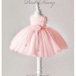 Wholesale Newborn Babies Belts - Newborn Baby Gown Dress Infant Girls Flower Belt Pink Princess First Birthday Baptism Dress Toddler Baby Clothing DM9680