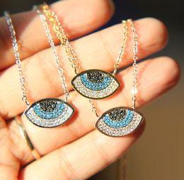 Wholesale Turkish Chains Gold - fashion jewelry 2017 new arrive pave cz eye shape pendant turkish evil eye 3 colors choker chain women necklace