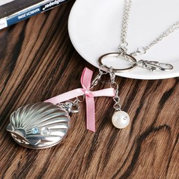 Wholesale Wholesale Keychain Bows - Wholesale-Vintage Mussel Oyster Pearl Cute Shells Carving Case Pocket Watch Bow-knot Crystal Keychain Silver Trendy Girls Gift