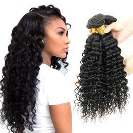 Wholesale 28 Curly Hair Extensions - Kiss Hair Virgin Brazilian Deep Curly Virgin Hair Extensions Brazilian Deep Wave Cheap Peruvian Indian Human Hair Weave Bundles