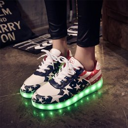 Wholesale Colorful Mens High Top Shoes - 2017 Mens 11 Colorful Led casual Shoes High Tops Leisure Simulation Party Chaussure Femme Usb Con Luz Lights fashion schoen