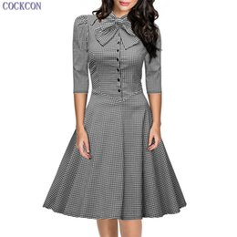 Wholesale Cheap Wear Work Dresses - COCKCON 2017 Summer Fashion Women Vintage Dress Plus Size 7 Points Sleeve Plaid Office Dress Beautiful Cheap Princess Dresses 125
