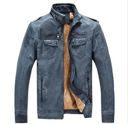 Wholesale Fleece Sewing - 2018 Winter Male Leather Motorcycle Jacket Men Thick Fleece Warm Jaqueta de Couro Masculino Stand Collar Mens Leather Jackets