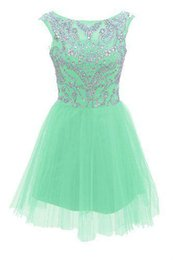 Wholesale Mint Prom Dress Knee Length - 2017 New Mint Green Homecoming Dresses Crystals Beads Cap Sleeves Tulle Gorgeous Short Teens Prom Dress Custom Made