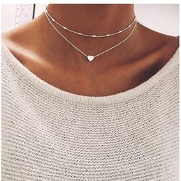 Wholesale Sterling Silver Bib Necklaces - 1 Set Women 925 Sterling Silver Heart Bib Statement Simplicity Choker Gold Chain Pendant Necklace Jewelry