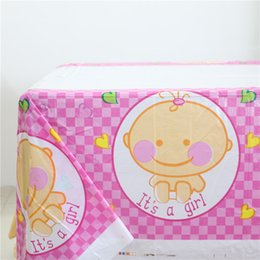 Wholesale  Baby Shower 1pcs Disposable Waterproof Table Cloth Party Supplies  Cute Its A Girl Pink