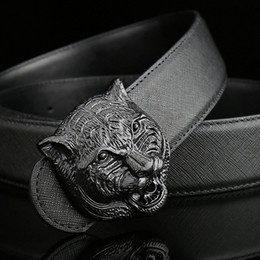 Wholesale Men Belt Buckles Western - New Wild personality Men's belt tiger head pattern metal buckle strap male leather belt western cowboy style belt gift for men