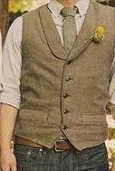 Wholesale Polyester Mens Dress Vests - 2017 Shawl Lapel Brown Wool Tweed Vest British Groom Vest Vintage Mens Suit Vests Slim Fit Groom Wear Wedding Waistcoat Mens Dress Vests