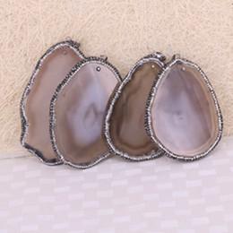 Wholesale Gemstone Freeform - 5pcs Fashion Nature Onyx Agate Druzy Slice Pendant Bead Paved Crystal Freeform Agate Drusy Gemstone Slice Jewelry Pendant