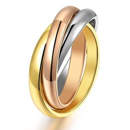 Wholesale Stainless Steel Eternity - Luxury Brand Rose Gold Stainless Steel 3 Color Ring for Men Women Eternity Gold Anel Feminino Midi Finer Ring Costume Jewelry