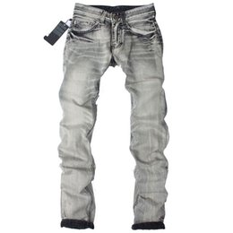 Wholesale Solid Color Men Jeans - Wholesale-2016 New Fashion Designer Mens Jeans Printed Jeans for men robin jeans,gray color CSY1075