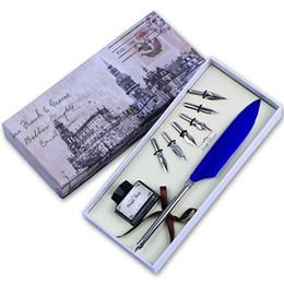2019 fontana del sonetto del parco Wholesale- Feather Quill Pen set Calligrafia penna per scrivere Mini Dip Pen