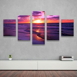 Wholesale Sunset Canvas Paintings - 5 Pieces set The Family Decorates The Red Sunset Print Painting On Canvas Wall Art Picture for Living Room
