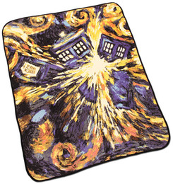 Wholesale Coral Sheets Throws - Wholesale-floral prints carpeting Multi-function TARDIS Doctor Who Blankets Coral Fleece starry night Carpet Throw Blankets Bed sheet