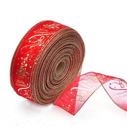 Wholesale merry christmas ribbon - Wholesale Christmas Tree Ribbon Decorations Red Gold Ribbon Decorations Merry Christmas Party Decorations 6.3*200CM Free Shipping
