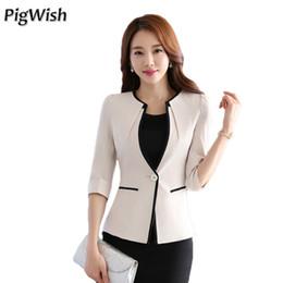 Wholesale Cropped Fur Jacket - 2017 Female Career Fashion Women Blazer New Ol Formal Slim Jackets Elegant Lady Office Top Cropped Blazer Plus Size