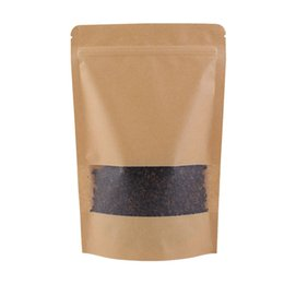 Wholesale Brown Paper Bags For Food - 100Pcs  Lot 14x20cm Resealable paper packaging bag ziplock Round Corner brown Stand Up Kraft Paper Bags for coffee bean Tea