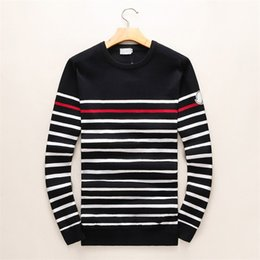 Wholesale Men Printed Knit Shirt - Latest Classic stripes Winter Casual Sweater Brand Clothing Long Sleeve Mens Sweaters classic Shirt Pullover O-Neck Knitwear