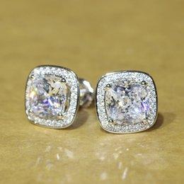 Wholesale Diamond Halo - Beautiful 2 carat Cushion Cut NSCD Simulated Diamond Screw Post Stud Earrings Halo ,Fine Sterling Silver Jewelry DE008-L ccp
