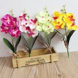 Wholesale Orchids Artificial Flower - Artificial flowers silk flower fake butterfly orchid with leaves Phalaenopsis flores for wedding home decoration