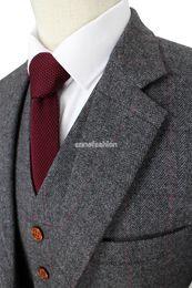Wholesale Tailor Suits For Men - 2016 Wool Retro Grey Herringbone Tweed British style custom made Mens suit tailor slim fit Blazer wedding suits for men 3 piece