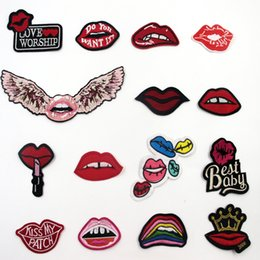 Wholesale Iron Patches Crowns - 15 Pcs Various Shapes Of Lips With Wings, Letters, Crown Lips Patches Badges Embroidery Patch Applique Clothes Ironing Clothing