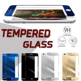 Wholesale Colorful Glass Iphone - Colorful Tempered Glass Screen Protector Color Plating Mirror 9H Hardness Front and Back Explosion proof Film For iPhone 7 Plus 6 6S 5S SE