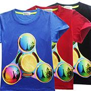 Wholesale Toddlers Boy Fashion - Fidget Spinners T-shirt Kids Triangle Short Sleeve Tops Baby Boys Girls Children Clothing Teenager Toddler Cartoon Round Neck Cotton Summer
