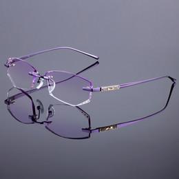 2019 titan rimless brille großhandel Großhandels-Titanlegierungs-Glas-Rahmen-ursprüngliche Marken-Frauen-randlose Rahmen-Diamant-Zutat-geschnittene randlose Gläser mit Steigungs-Farbton-Linsen günstig titan rimless brille großhandel