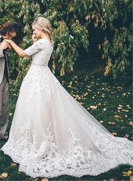 Wholesale Cheap Covers China - Vintage Plus Size Wedding Dresses 2017 Illusion Half Sleeves Lace Appliqued A Line Wedding Bridal Dress Cheap Wedding Dress Made in China